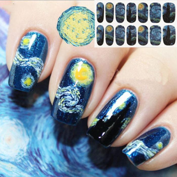 14 Pcs/Set Nail Polish Sticker Starry Sky Nail Sticker Nail Art Decor Full Wraps Manicure