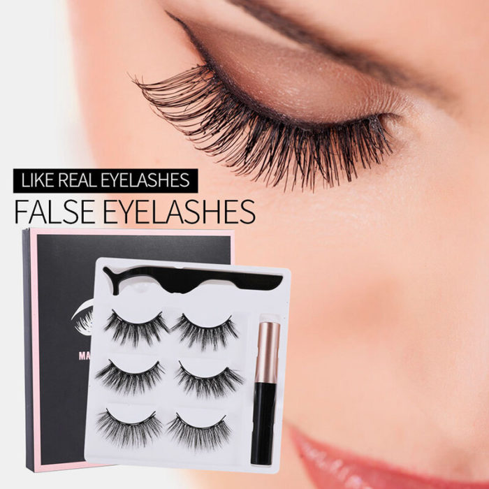 3D False Eyelashes Set Magnetic Eyeliner Liquid Natural Magnet Eyelashes Eye Makeup Eye Cosmetics