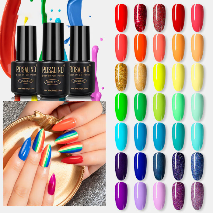 7 mMl Rainbow Series Nail Polish Gel Manicure Poly Nail Gel Semi Permanent Soak Off Nail Art Design