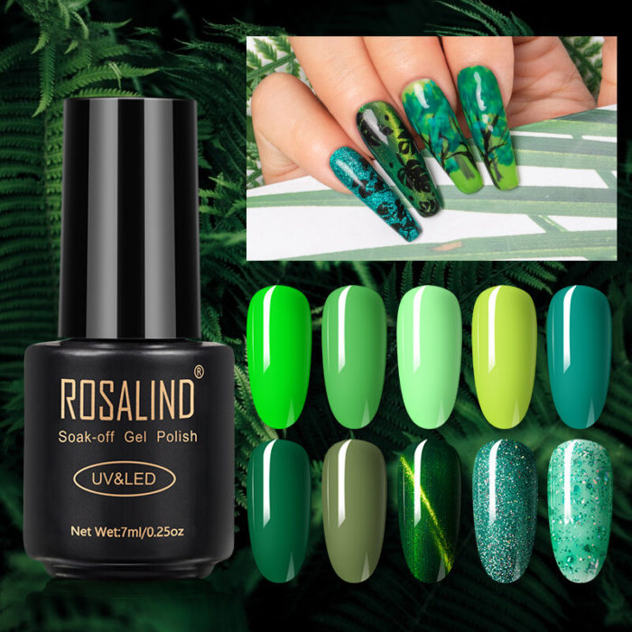 7 ml Forest Green Series Nail Polish Gel Manicure PhototherapyGel Semi Permanent UV Phototherapy Gel
