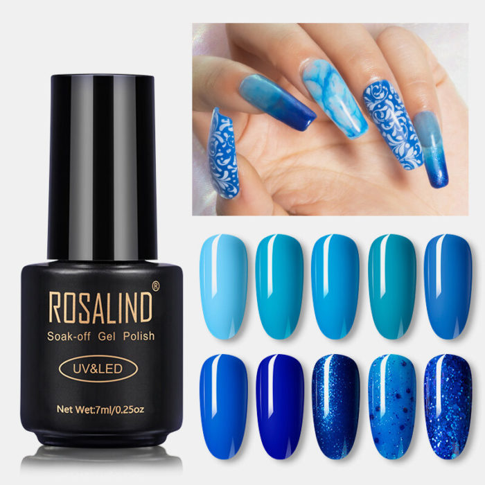 7ML Enamel Blue Series Nail Polish Gel Semi Permanent Phototherapy UV Gel Manicure Royal Blue Gel