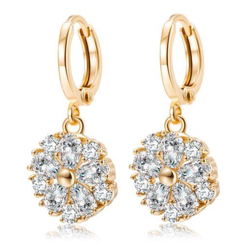 Elegant Ear Drop Earrings Gold Plated Ziron Petalage Plant Charm Earrings Formal Jewelry for Women