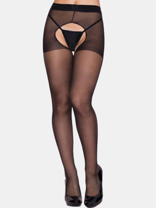 Women Solid Color Transparent Open Crotch Thin Stockings Sexy Lingerie