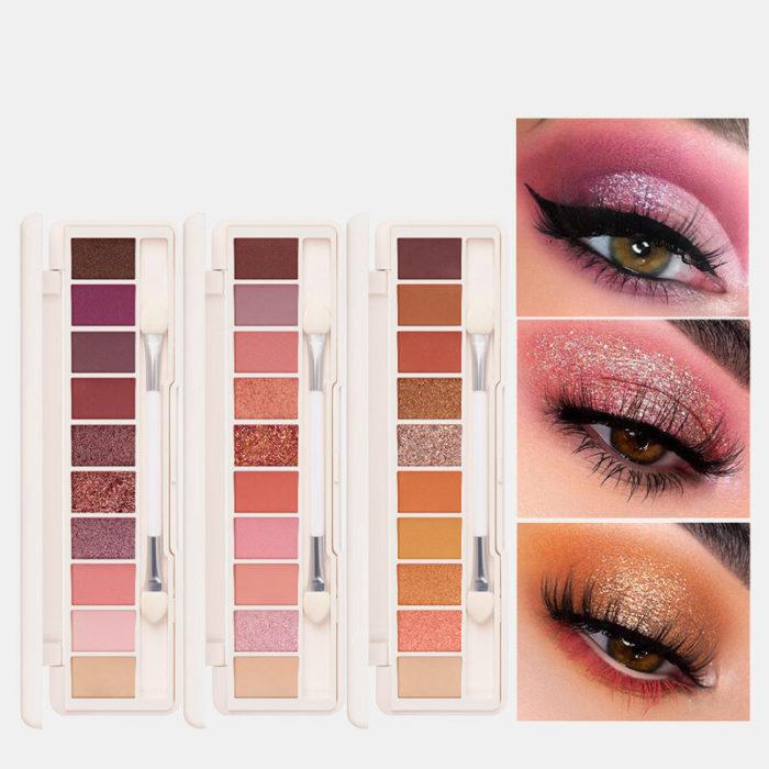 10 Colors Eyeshadow Palette Conceler Matte Shimmer Glitter Waterproof Eyeshadow Powder