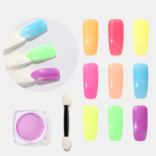 12 Colors Fluorescent Powder Nail Glitter Semi Permanent UV Manicure Polishing Powder