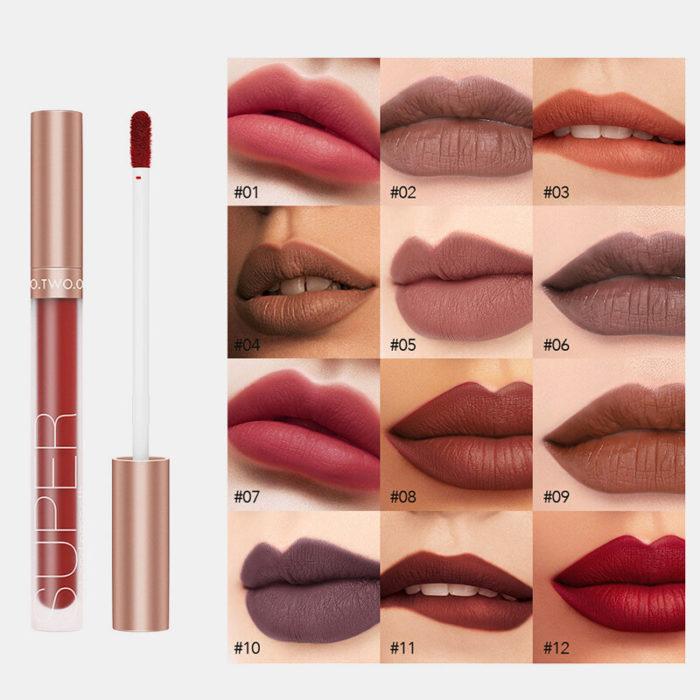 12 Colors Velvet Matte Lip Gloss Non-Stick Cup Non-Fading Lasting Waterproof Liquid Lip Glaze