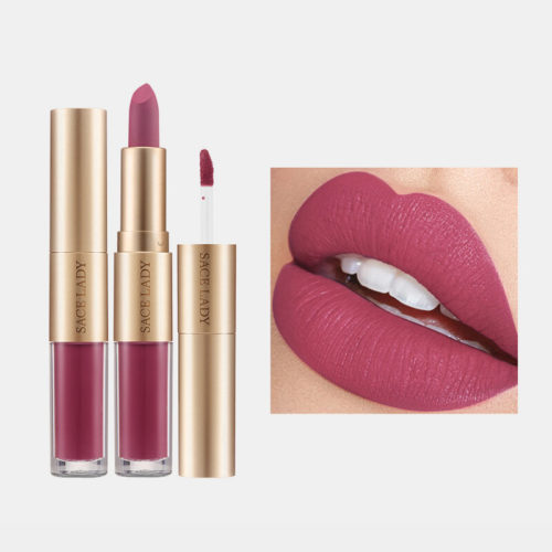 2 In 1 Matte Lipstick Lip Gloss Double-Headed Design Waterproof Soft Smooth Cosmetic Lip Makeup