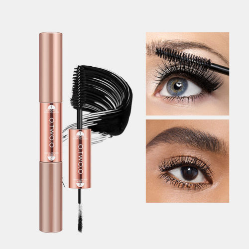2 In 1 Super Volume Fiber Mascara Waterproof Lasting Fast Dry Curling Fluffy Lashes Extension Eye Makeup
