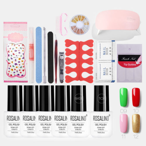 Manicure Nail Art Gel Nail Polish Kit Metal Pearl Nail Polish Phototherapy Machine Set