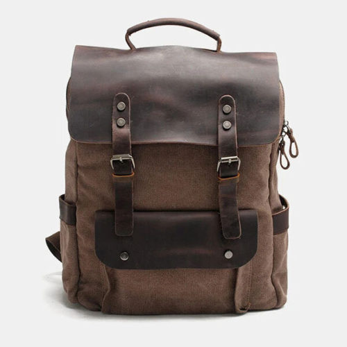 Men Genuine Leather Multi-function Travel Backpack
