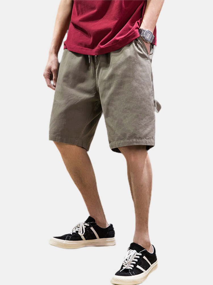 Men's Fashions Cargo Shorts Pocket Solid Color Cotton Casual Drawstring Shorts