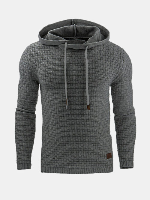 Mens Jacquard Slim Fit Casual Sport Hoodies Active-Wear