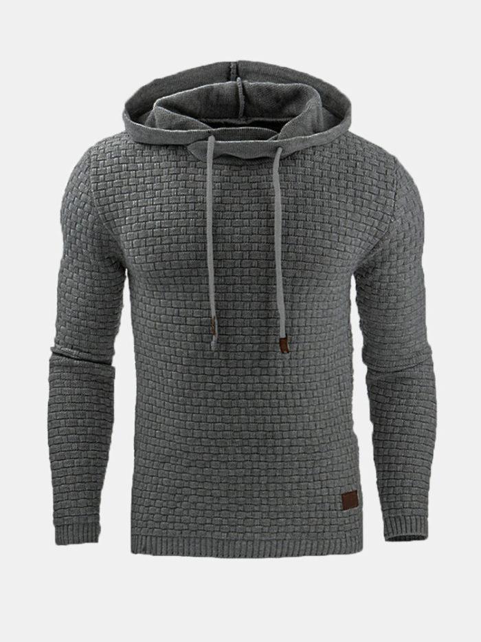 Mens Jacquard Slim Fit Casual Sport Hoodies Active-Wear