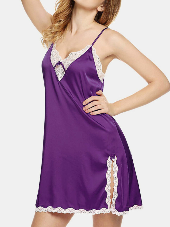 Plus Size Women Faux Silk Lace V-Neck Split Strappy Chemises Sexy Lingerie