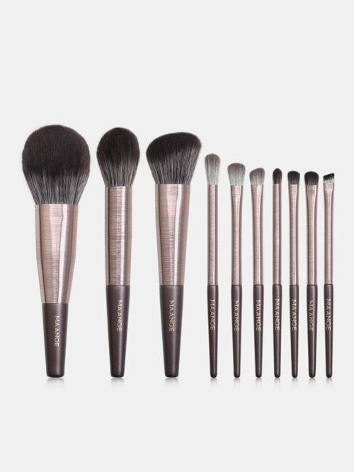 10 Pcs Makeup Brushes Set Wooden Handle Concealer Blush Loose Powder Makeup Tools