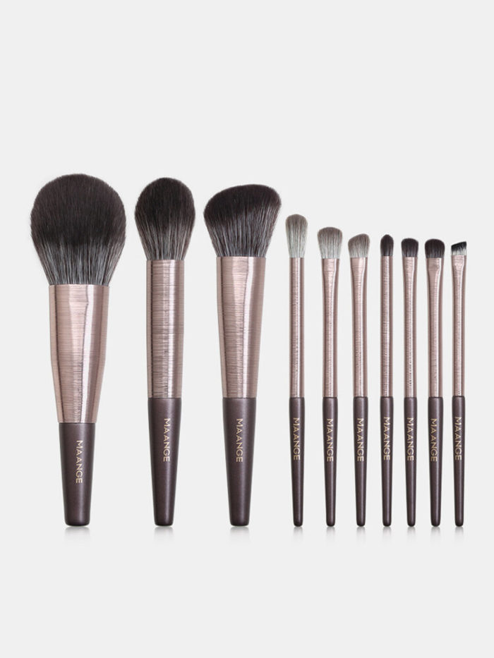 10 Pcs Makeup Brushes Set Wooden Handle Concealer Blush Loose Powder Makeup Tools