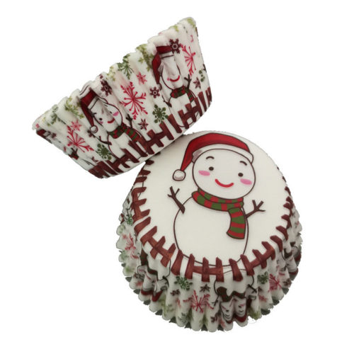 100Pcs Muffin Christmas Snowman Cupcake Wrapper Paper Cups Egg Oil-proof DIY Baking Decor