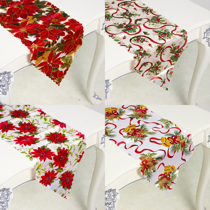 180*35cm European Christmas Decoration Embroidery Christmas Table Flag Home Desktop Decor