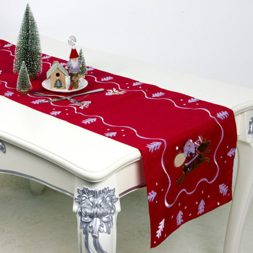 180*40cm European Christmas Decoration Embroidery Christmas Table Flag Home Desktop Decor