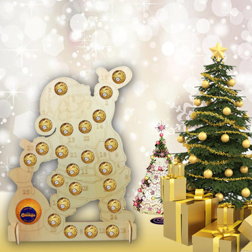 1Pcs Christmas Advent Calendar Ornaments Wooden Chocolate Storage Shelf For Christmas Decoration