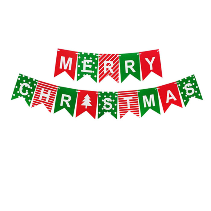 1Set Merry Christmas Letters Banner Hanging Swallowtail Pull Flag Christmas Party Supplies Paper