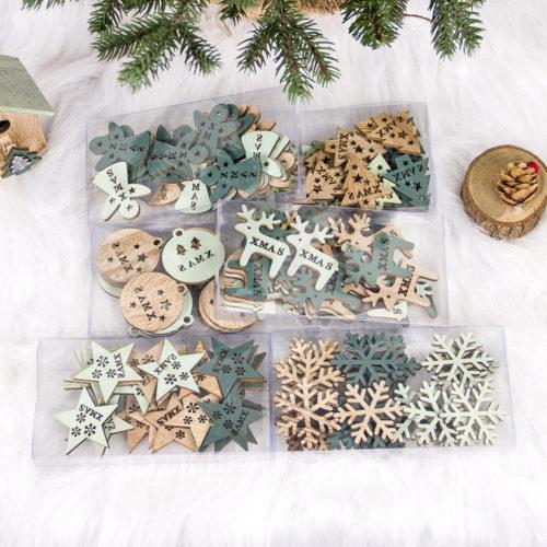 24Pcs Creative Wooden Hollowed Christmas Ornament Christmas Tree Decoration DIY Christmas Decor