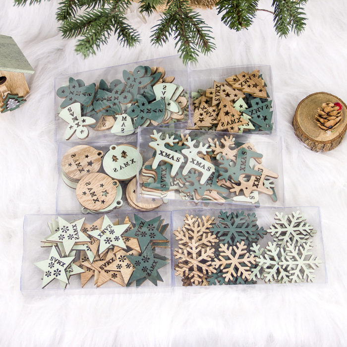 24Pcs Creative Wooden Hollowed Christmas Ornament Christmas Tree Decoration DIY Christmas Decor