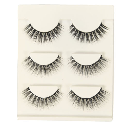 3 Pairs Handmade Long Mink Hair Natural Eyelashes False Eye Lashes