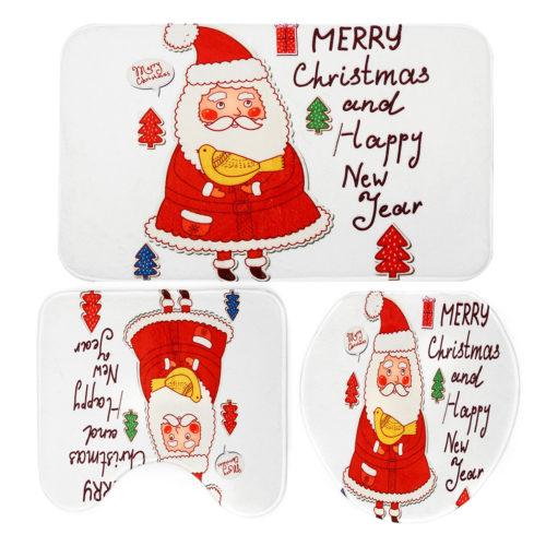 3PCS Christmas Home Decoration Santa Snowman Bathroom Toilet Seat Covers Mat Set