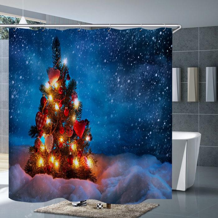 3Pcs Mat Set Bathroom Christmas Tree Shower Curtain Toilet Cover