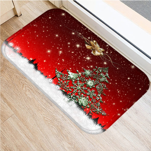 40*60cm Merry Christmas Pattern Non-Slip Carpet Entrance Door Mat Bathroom Mat Rug Floor Decor