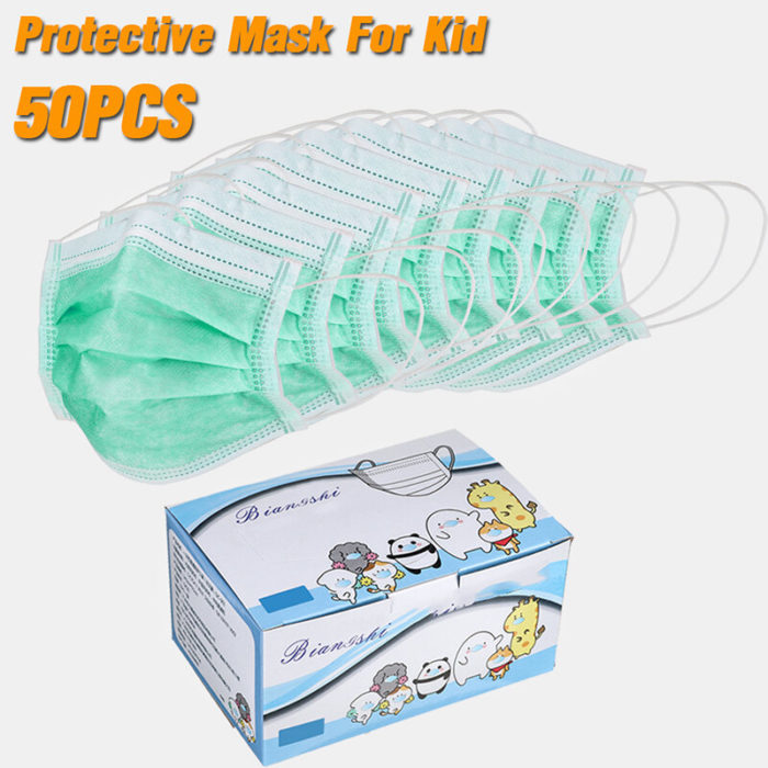 50Pcs Disposable Masks For Children 3-Ply Non-woven Filter Bacteria Face Masks Set