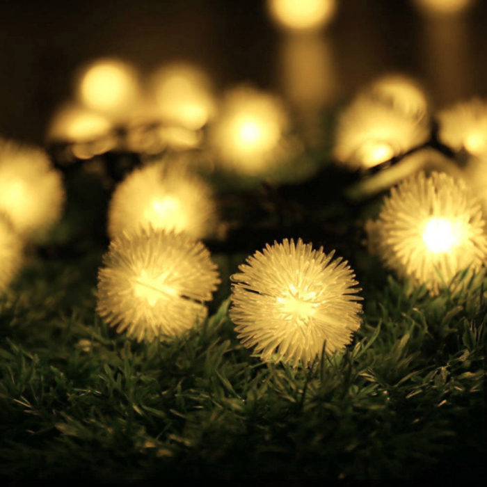 5M 20 LED Solar Power Snow Ball Fairy String Lights Lamp Outdoor Christmas Party Garden Home Decor