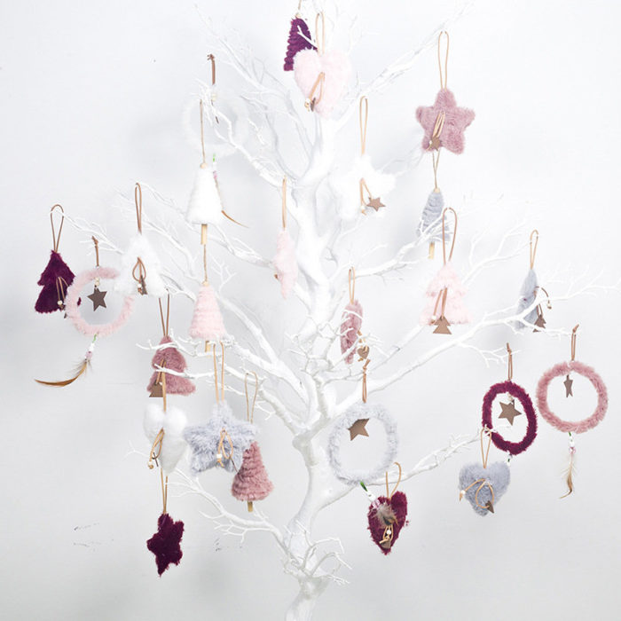 5Pcs INS Style Christmas Plush Decoration Pendant Home Christmas Tree Decor Pendant