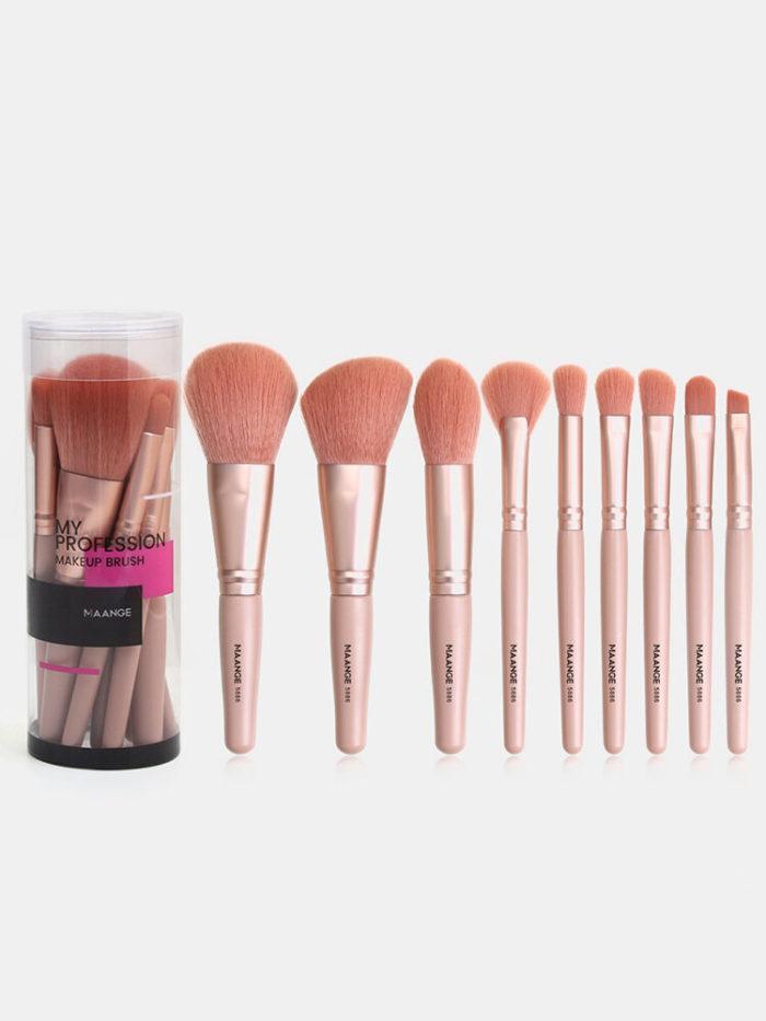 9 Pcs Makeup Brushes Set Beginners Eye Shadow Blush Concealer Makeup Tools With Brush Box