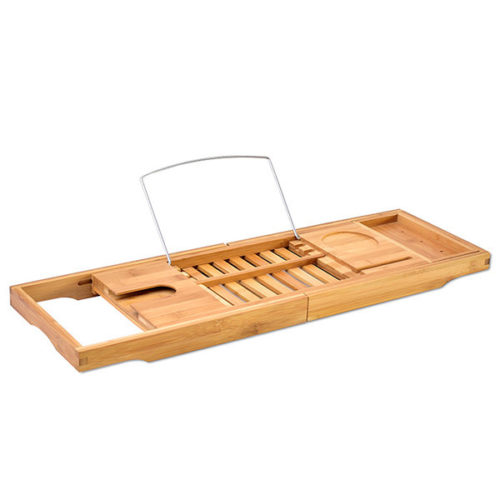 Bamboo Bathtub Caddy Tray with Extending Sides Extendable Bathroom Book Pad Phone Holder Shelf