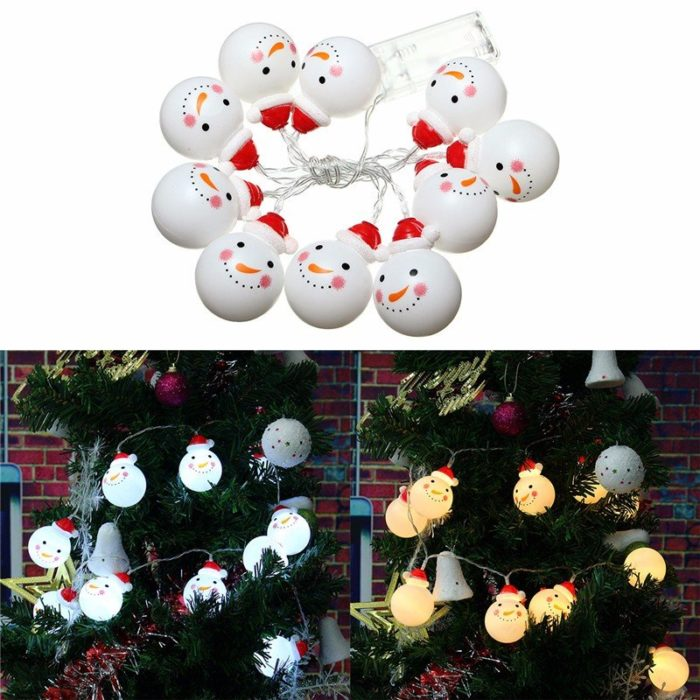 Battery Powered 1.2M 10LED Snowman String Fairy Light Christmas Xmas Tree Lamp Decor
