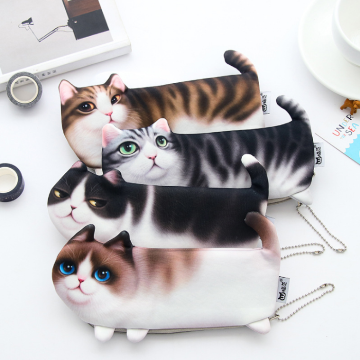 Cartoon Cat Storage Bag Pencil Case Soft cloth School Stationery Pen Bag Gift