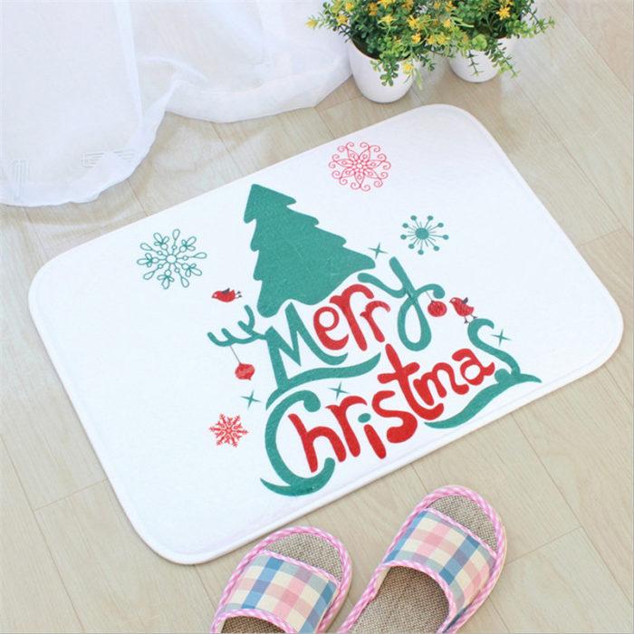 Christmas Bath Mats Flannel Printing Bathroom Rug Toilet Water Absorption Antiskid Floor Mat