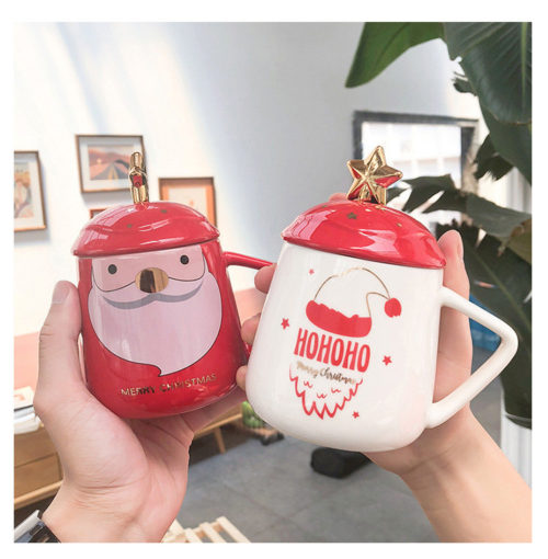Christmas Ceramic Cup Big Belly With Lid With Spoon Gift Cup