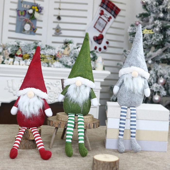 Christmas Decorations Props Faceless Dolls Long Legs Sittings Santa Claus Pendant Window Decorations