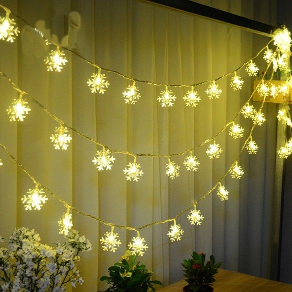 Christmas Decorations Snowflake Waterproof LED Flash Lights String Festival Wedding Decor