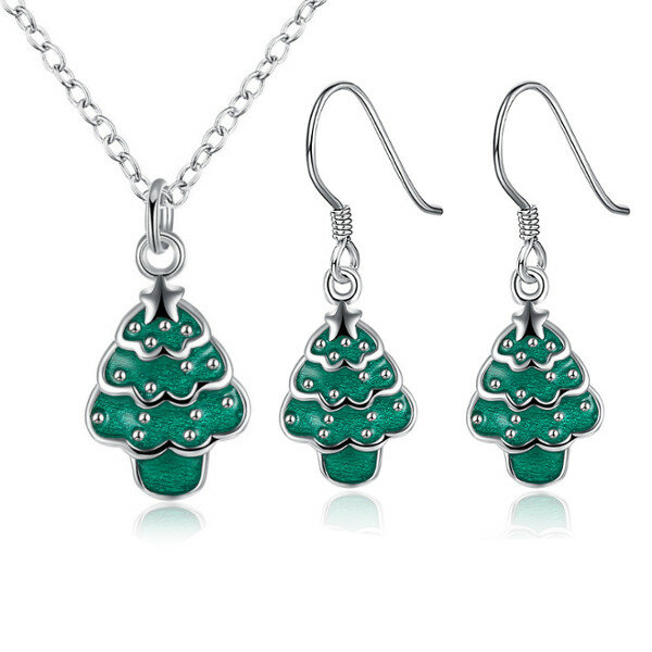 Christmas Jewelry Set Christmas Tree Oil Drip Earrings Necklace Kit