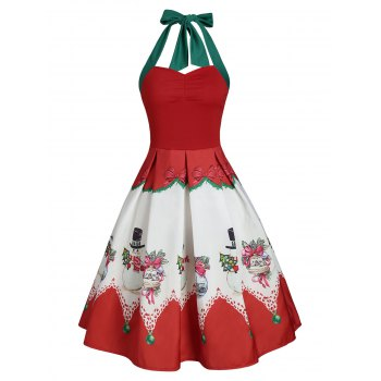 Christmas Snowman Bowknot Print Halter Dress