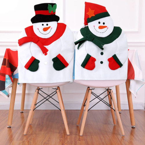Christmas Snowman Chair Back Cover Festival House Decorative Non-woven Fabric Soft Chair Cover