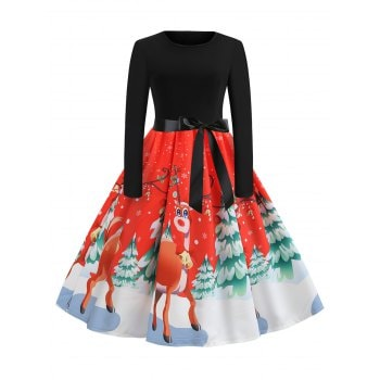 Christmas Tree Elk Print Belted Dress