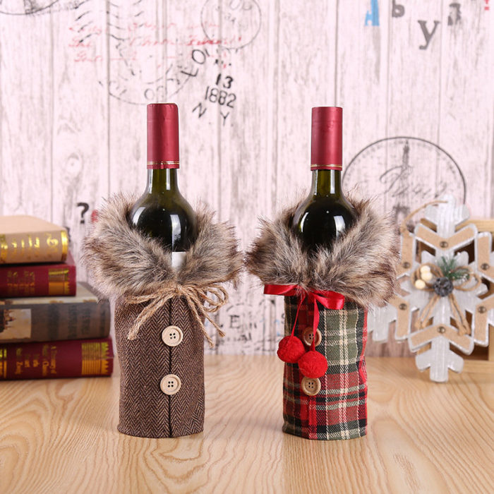 Christmas Wine Set European And American Bow Sackcloth Bottle Set Holiday Decoration