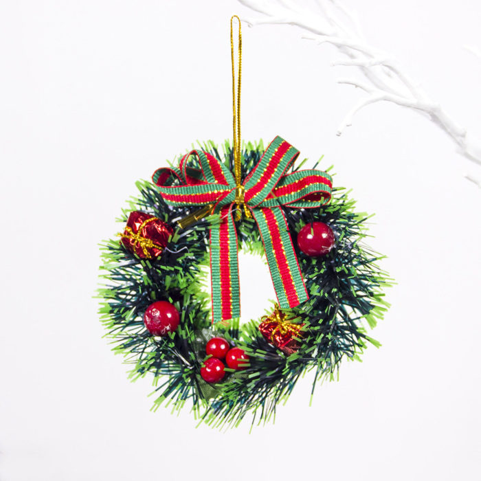 Creative PVC Mini Christmas Wreath Christmas Trees Decor Home Living Room Door Decor