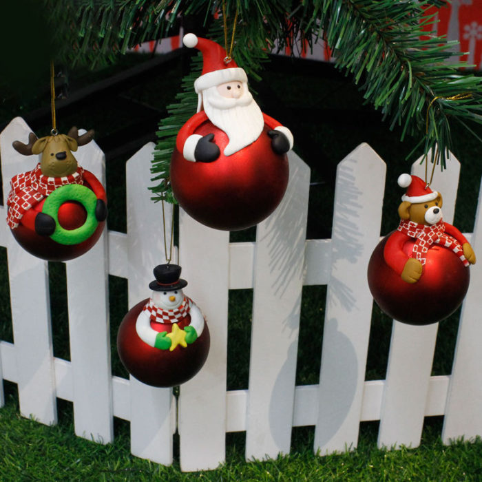 Creative Soft Pottery Christmas Cartoon Decorative Pendant Home Christmas Trees Pendant Living Room