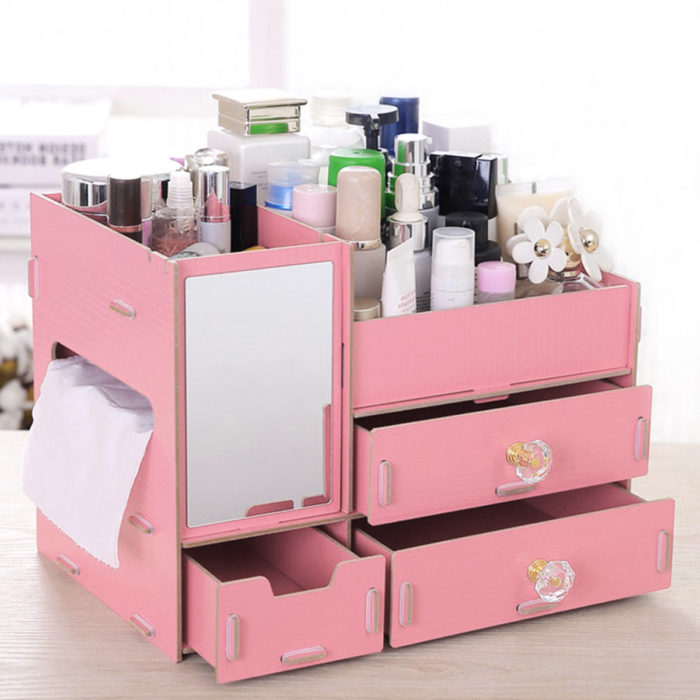 Desktop Wooden Drawer Cosmetic Storage Box With Mirror